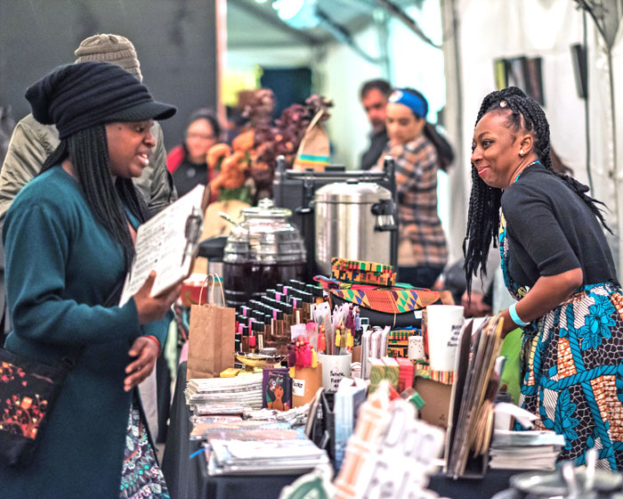 Entrepreneur Tomara Carter (Afrocentric Essentials) at the 2017 My People's Market. Photo by Tojo Photos.